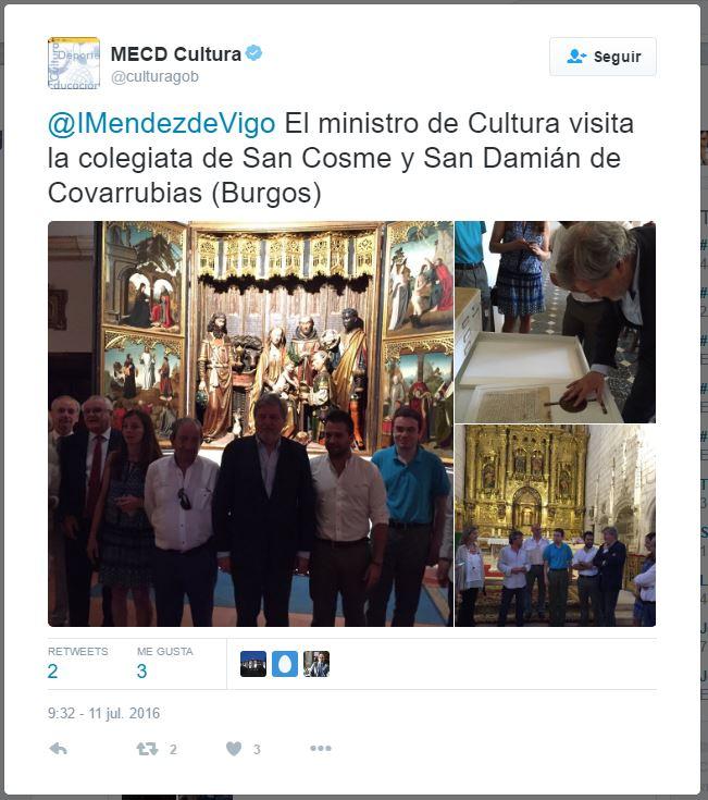 El ministro de Cultura visita la colegiata de San Cosme y San Damián de Covar...